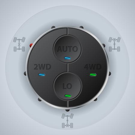 기능 LED로 오프로드 차 컨트롤 패널 디자인