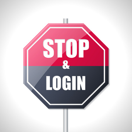 directions icon: Stop and login bicolor traffic sign on white Illustration