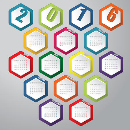 hexa: New 2016 calendar with colorful hexagon elements