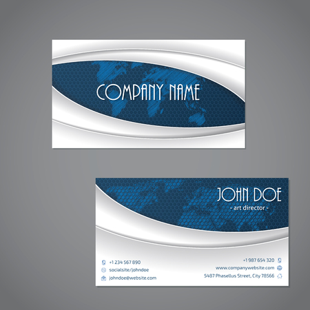 business card template: Blue scribbled map business card template with white waves Illustration