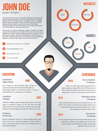 curriculum: Modern cv resume curriculum vitae template design with photo in middle rhomb