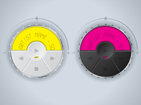 black yellow: Compact car mp3 control panel design in white yellow and black pink color combo