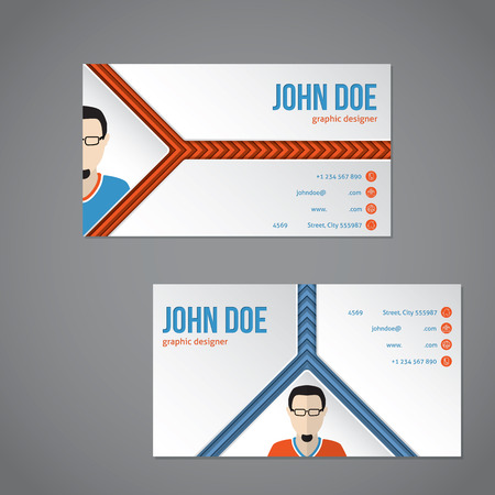 combo: Blue orange color combo business card template with arrow stripes