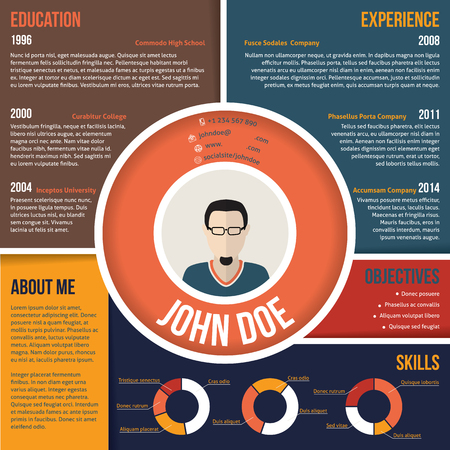 Modern colorful areas curriculum vitae cv resume template design