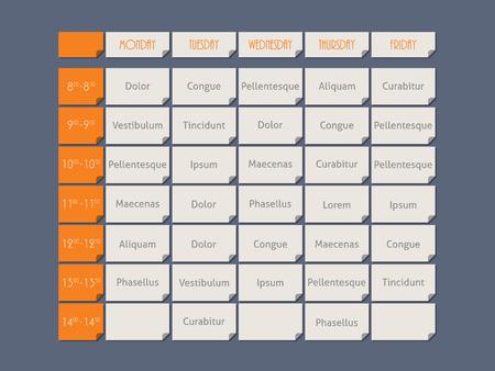 cronograma: plantilla de calendario estilo plano de diseño de color naranja con texto de ejemplo