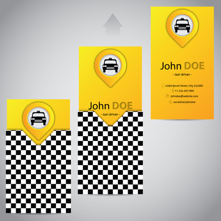 business card template: Two piece taxi business card template design with pointer Illustration