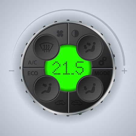 recirculate: Multifunctional car clima control with green lcd Illustration