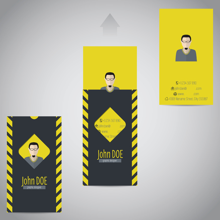 two piece: Simplistic flat two piece business card design with photo and data