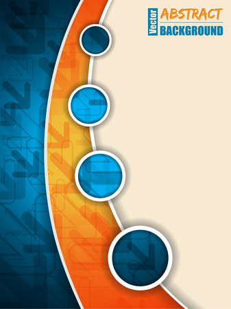 Abstract blue orange brochure with arrows and circles