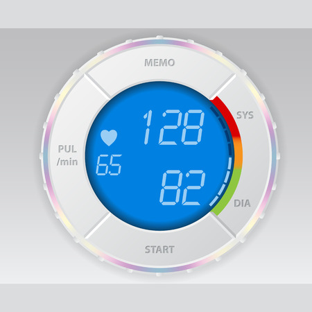 Digital blood pressure monitor with blue lcd