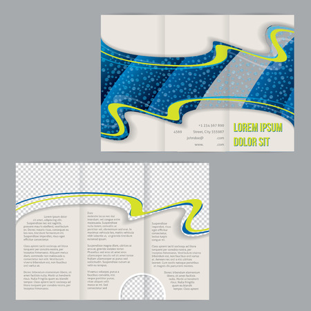 waterdrop: Tri-fold flyer brochure template design with waterdrop image and photo container Illustration