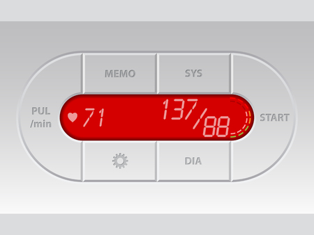 blood pressure monitor: Digital blood pressure monitor with red lcd