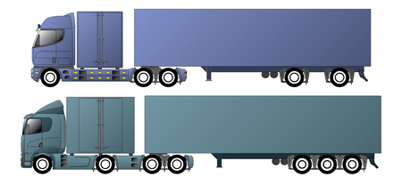 18 wheeler: Commercial vehicles with dromedary tractors and their trailers Illustration