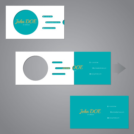 two piece: Simplistic flat two piece business card design with circle and lines