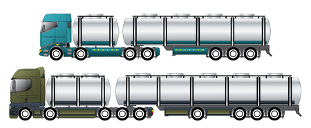 Commercial tanker vehicles with dromedary tractors and their trailers Vector Illustration