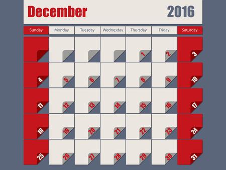 agenda year planner: Gray red colored 2016 calendar design for december month