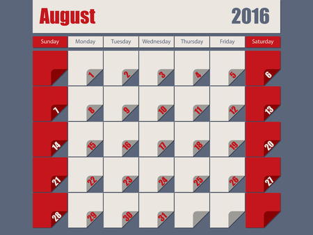 organiser: Gray red colored 2016 calendar design for august month