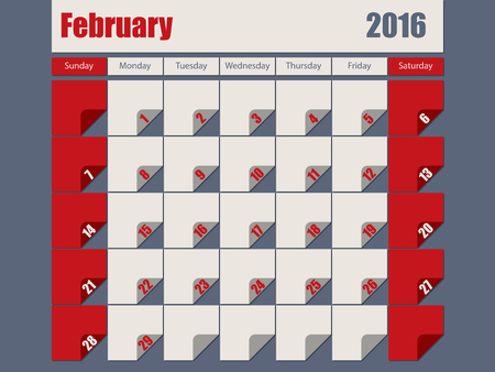 DESIGN: Gray red colored 2016 calendar design for february month