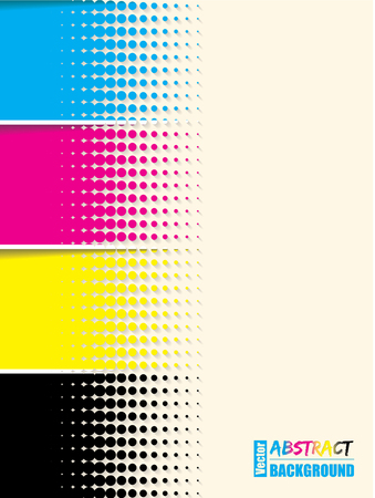 cmyk: Abstract cmyk halftone background template with sample text