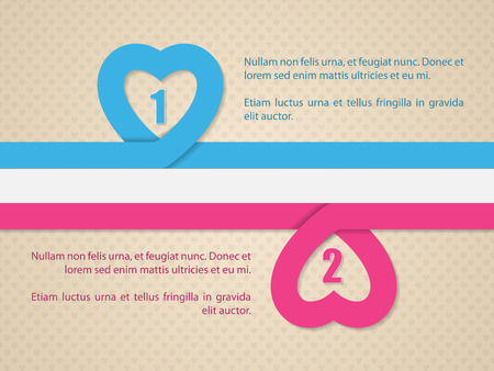 blue ribbon: Valentines day background with pink and blue heart ribbon and straight flag