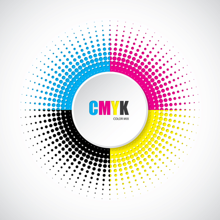 Abstract cmyk halftone background with 3d button in middle