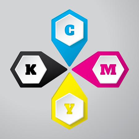 postscript: Cmyk wallpaper with 3d hexagon buttons on gray background