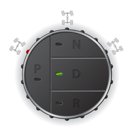 오프로드 기능과 자동 변속기 제어 패널 일러스트
