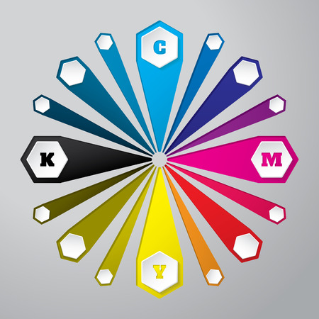 postscript: Cmyk wallpaper with 3d hexagon buttons and color combinations