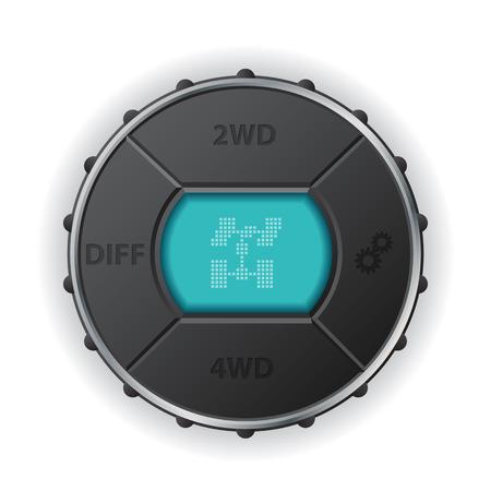 청록색 LCD 디지털 차동 제어판