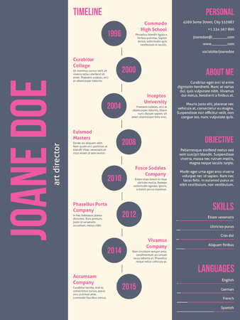 Pink gray modern resume cv curriculum vitae template design