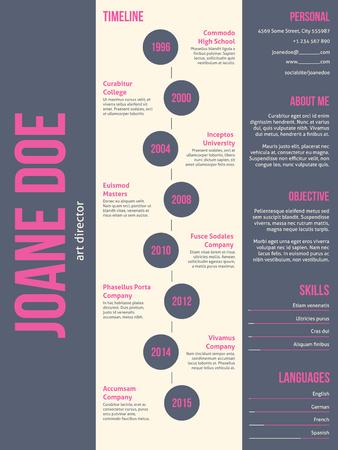 cv: Pink gray modern resume cv curriculum vitae template design Illustration