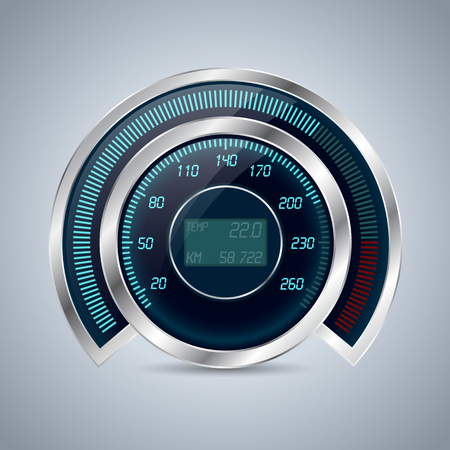 Fully digital speedometer rev counter with lcd display in the middle