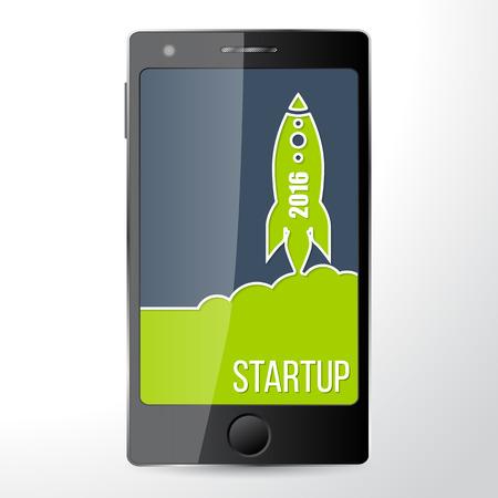 Mobile start up app flat business concept Ilustração