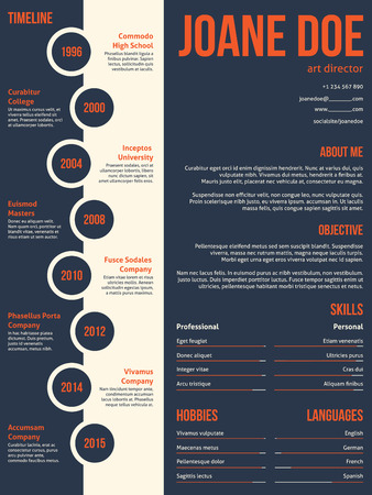 cv: Modern resume cv curriculum vitae template beginning with timeline