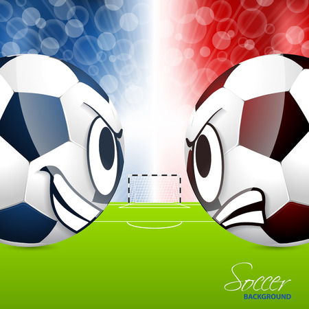 soccer balls: Soccer balls head to head design with field in background