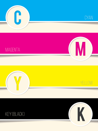 postscript: Cmyk background with copy space for every swatch Illustration