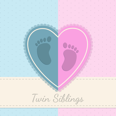 siblings: Blue pink baby shower invitation with twin siblings text