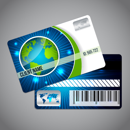 Loyalty card design template with globe and blue green background