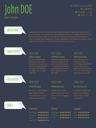 vitae: Modern resume cv curriculum vitae template design with speech bubbles Illustration