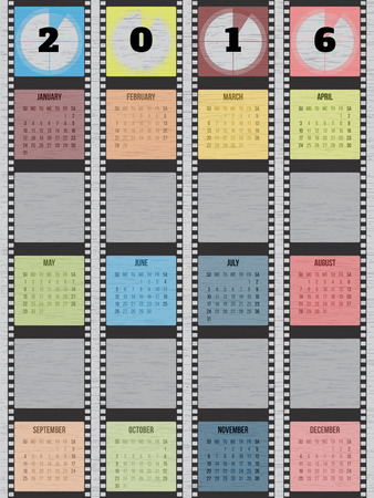 strip design: Film strip calendar design for year 2016
