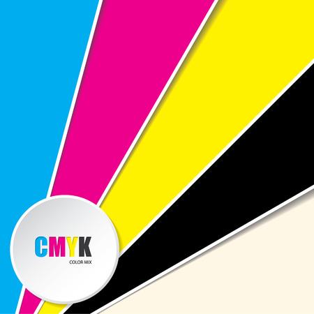 cmyk abstract: Abstract cmyk background with 3d button and CMYK text