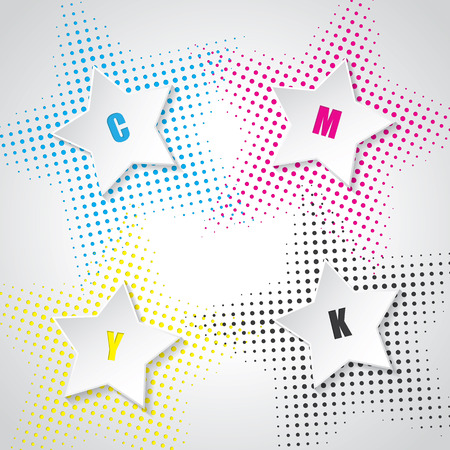 postscript: Abstract cmyk background with 3d stars and star halftones