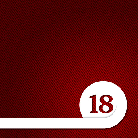Adult content background design with white ribbon curling around number 18