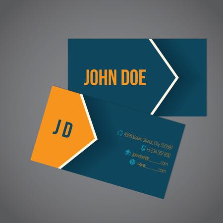 blue card: Modern business card with arrow shadows design Illustration