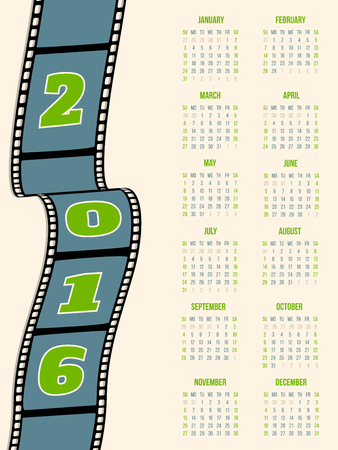 strip design: Calendar design with film strip for year 2016