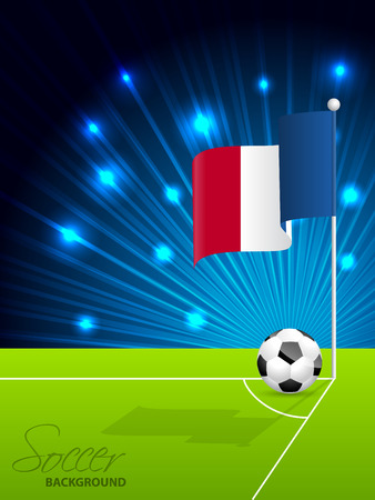 penalty flag: Soccer ball and french flag in field corner Illustration