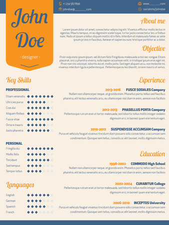 resume: Modern resume cv curriculum vitae template with orange ribbon