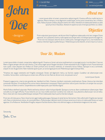 resume: Modern cover letter resume cv template with orange ribbon Illustration