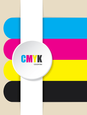 cmyk abstract: Abstract cmyk stripes background with 3d button
