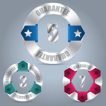 awarding: Metallic guarantee badge set of three with various color ribbons